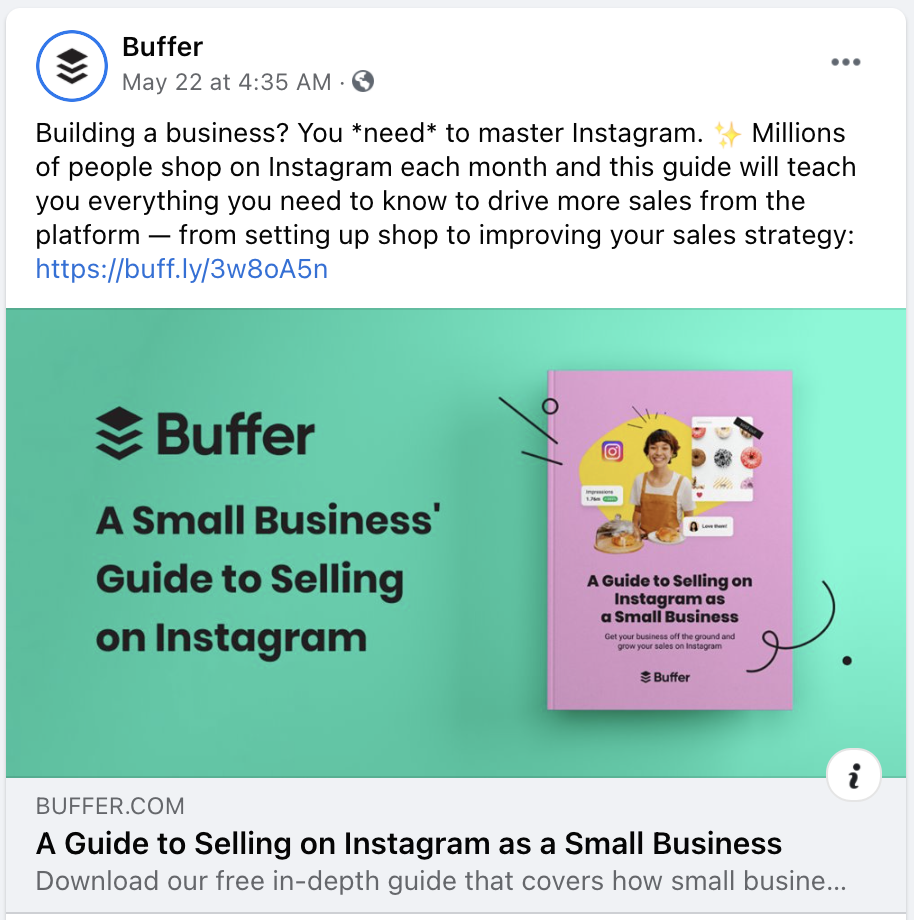 An example of an ebook promotional mockup graphic shared on Facebook.