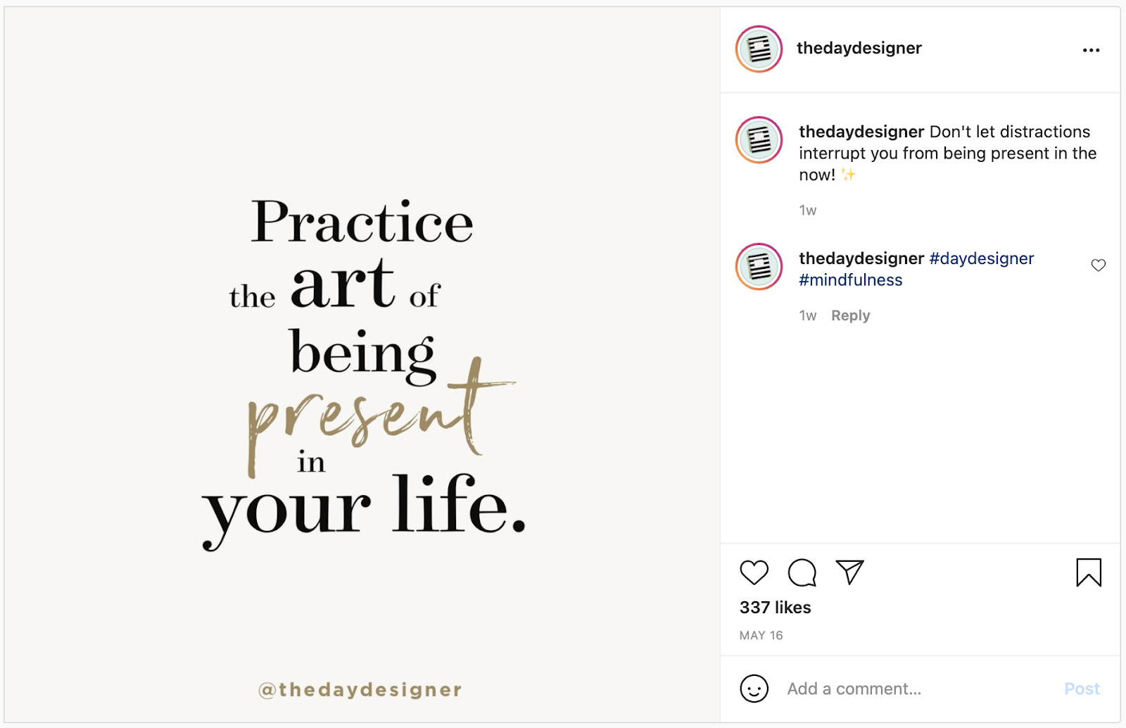 An example of a quote shared on Instagram.