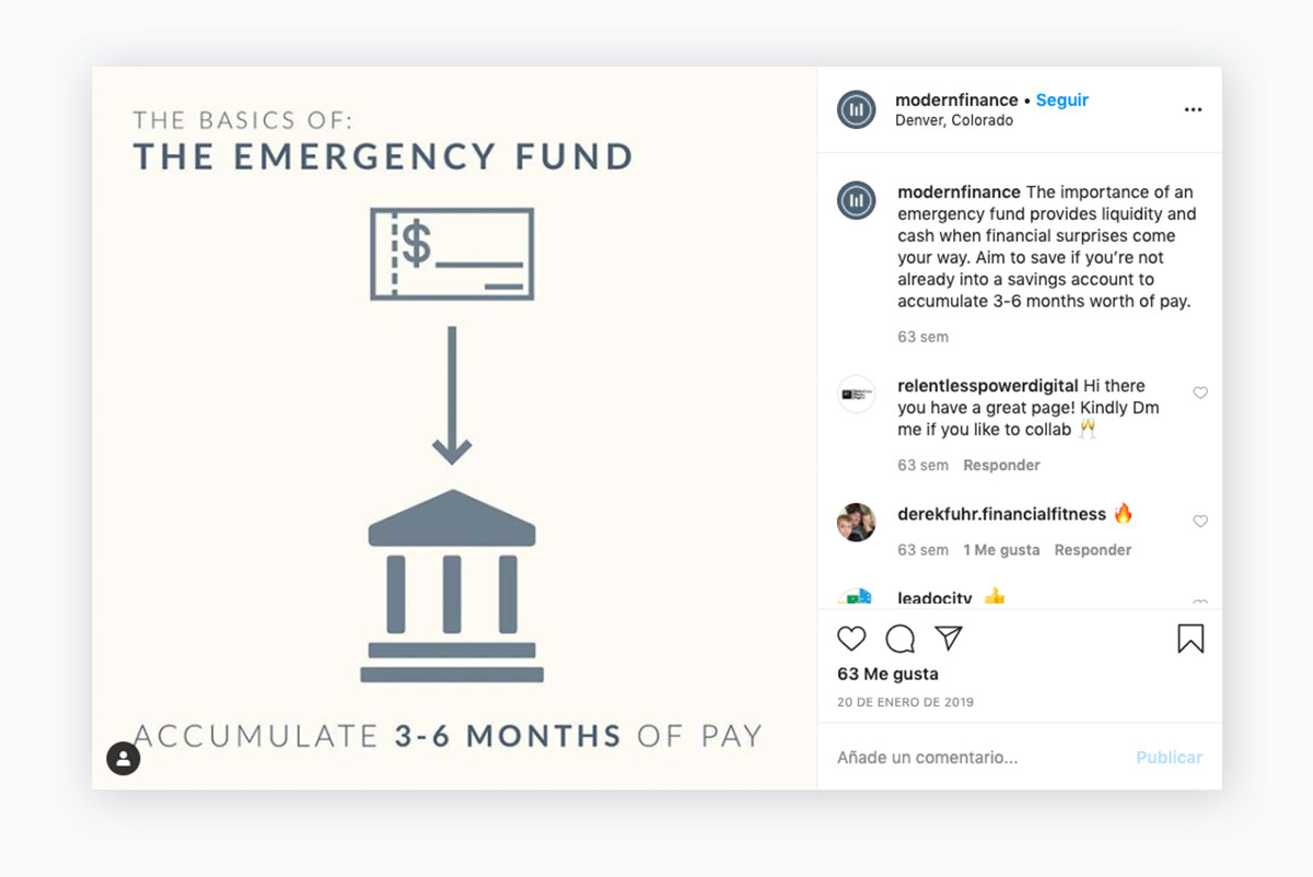 visual content strategy - modernfinance instagram post