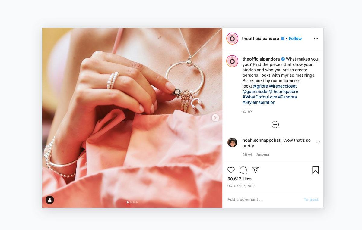 visual content strategy - pandora instagram post