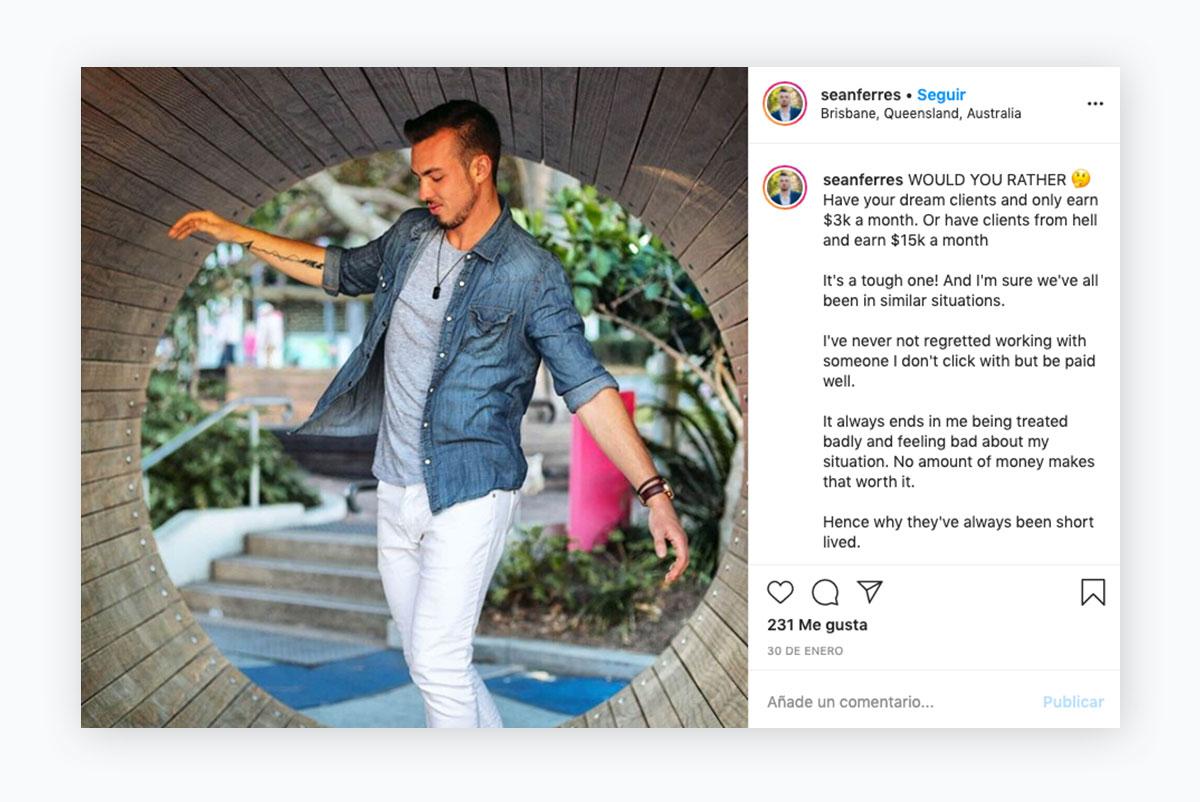 visual content strategy - sean ferres instagram post