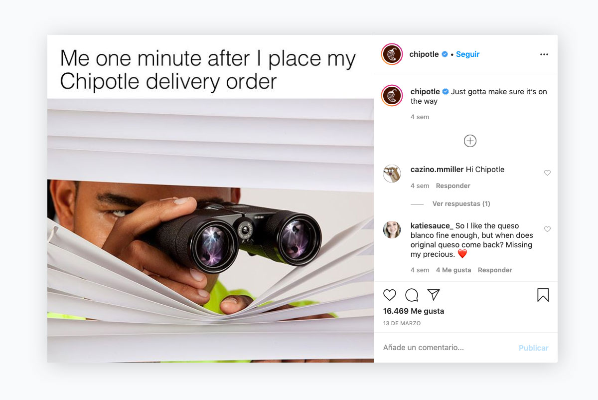 visual content strategy - chipotle instagram post