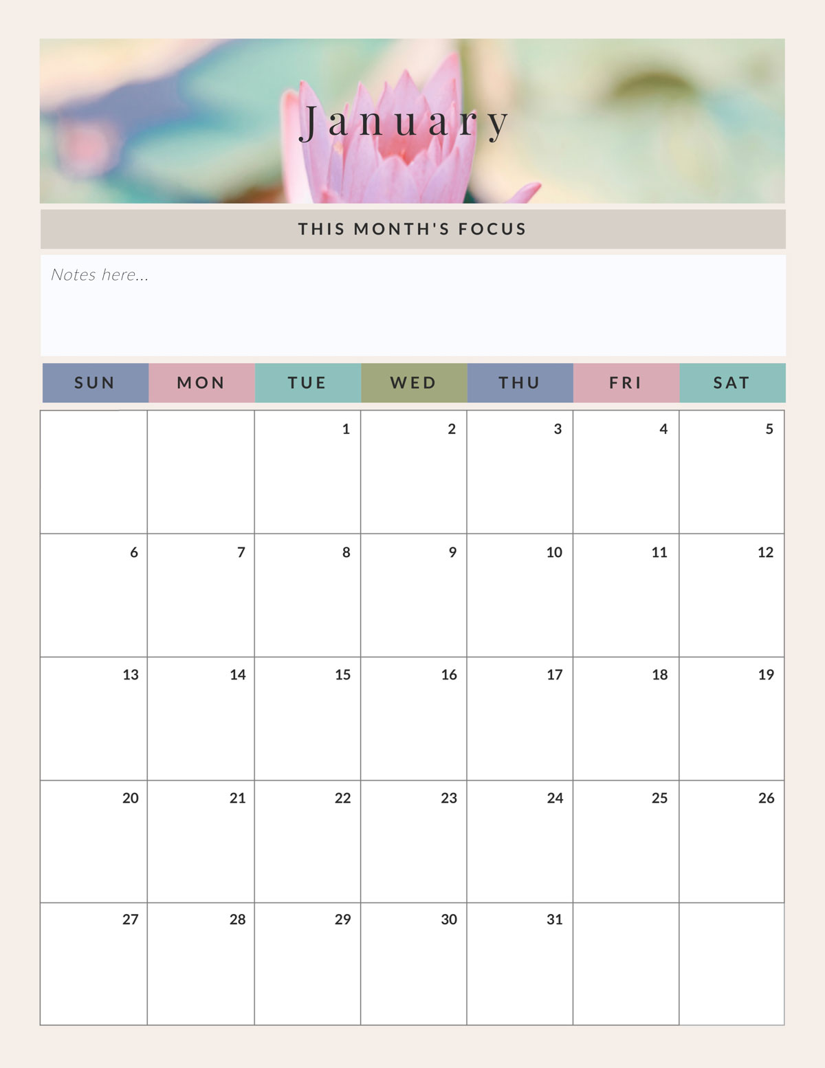 how to be productive - monthly calendar template