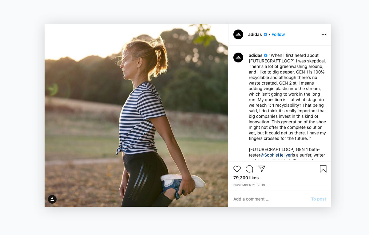 visual content strategy - adidas instagram post
