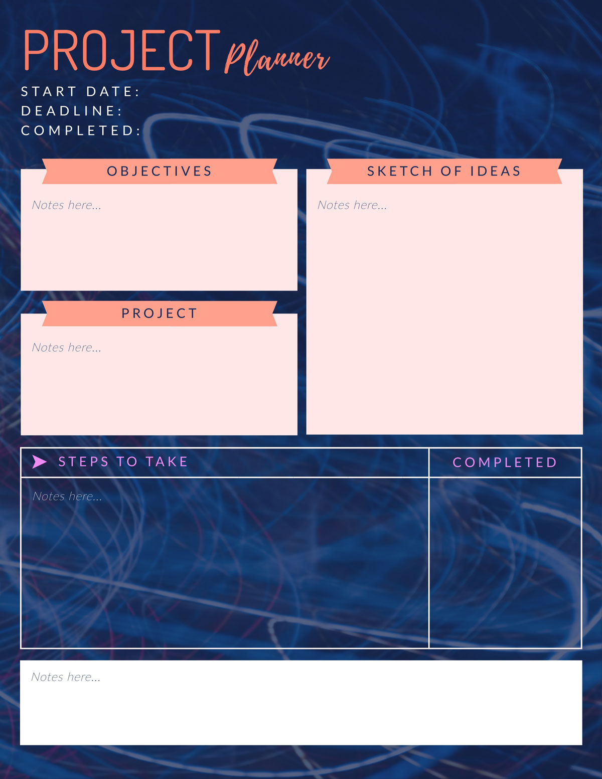 how to be productive - project planner template