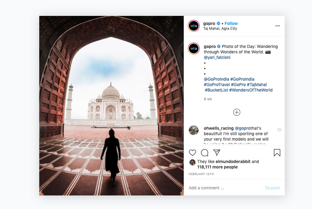 visual content strategy - gopro instagram post