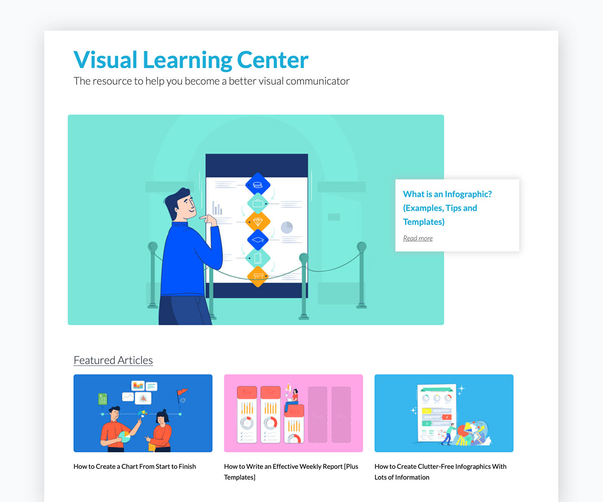 visual content strategy - visme's visual learning center home page