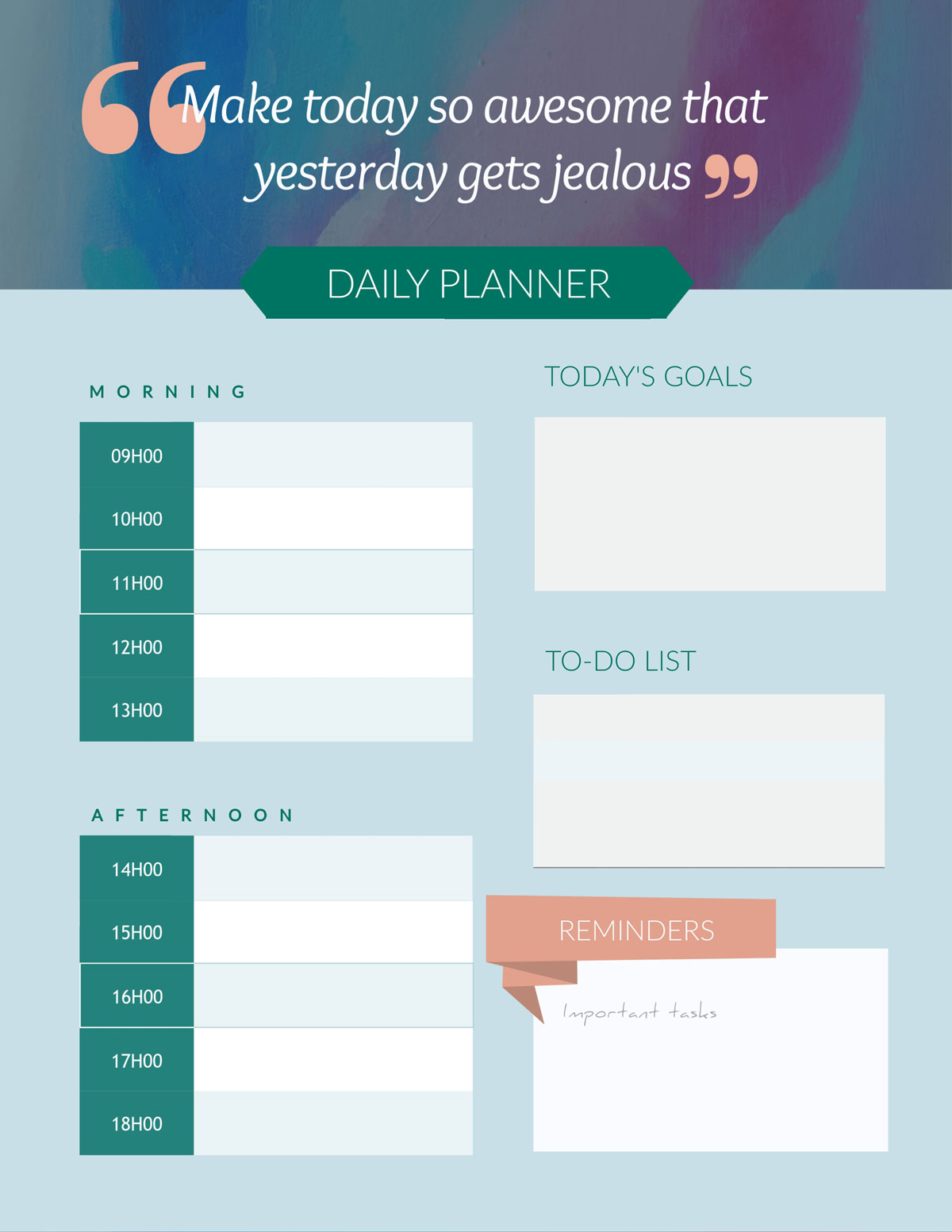 remote team -Daily-planner-template