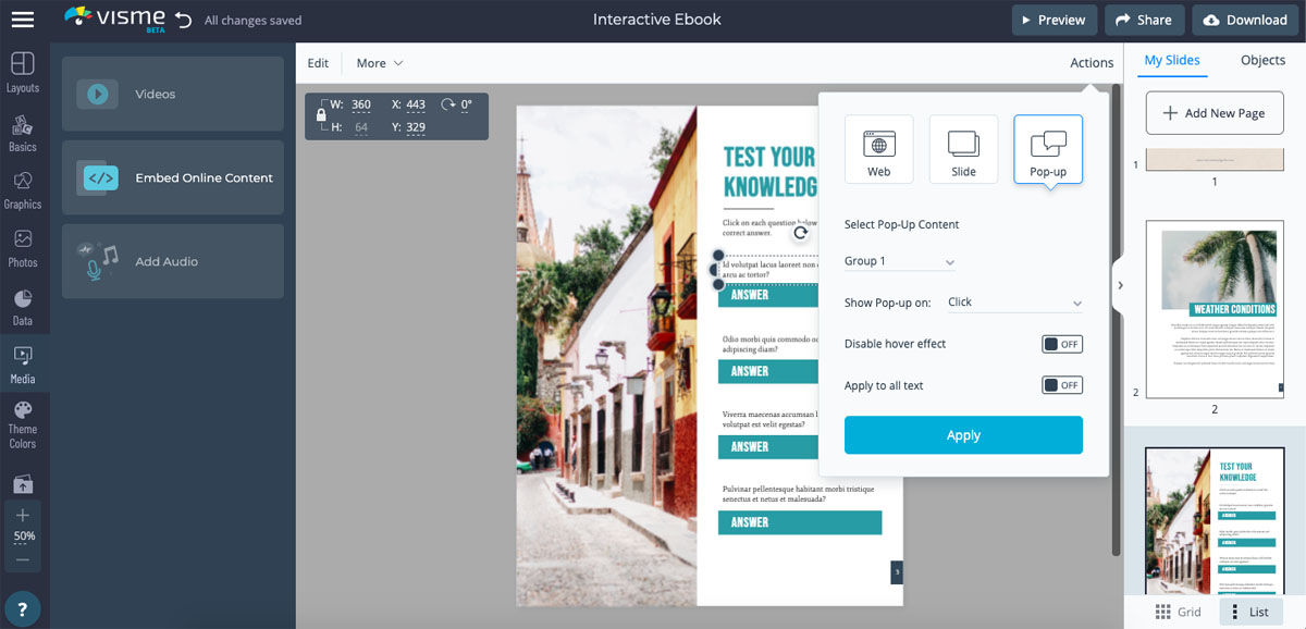 interactive ebook - create quizzes