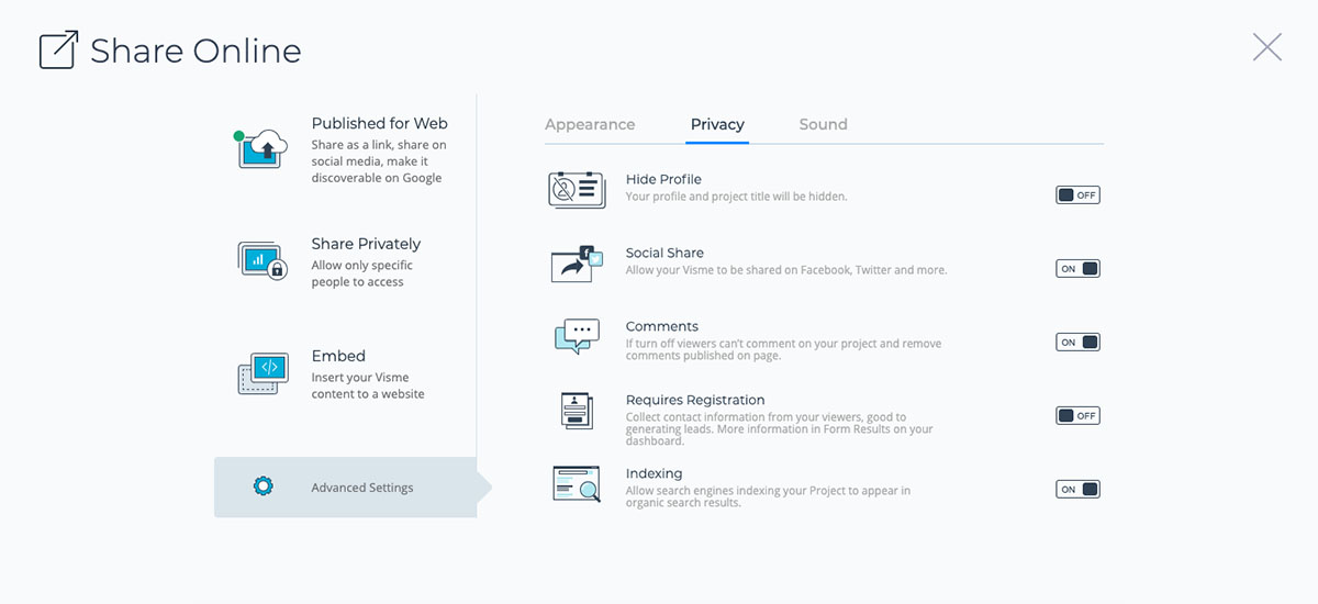 interactive ebook - turn on lead generation in visme