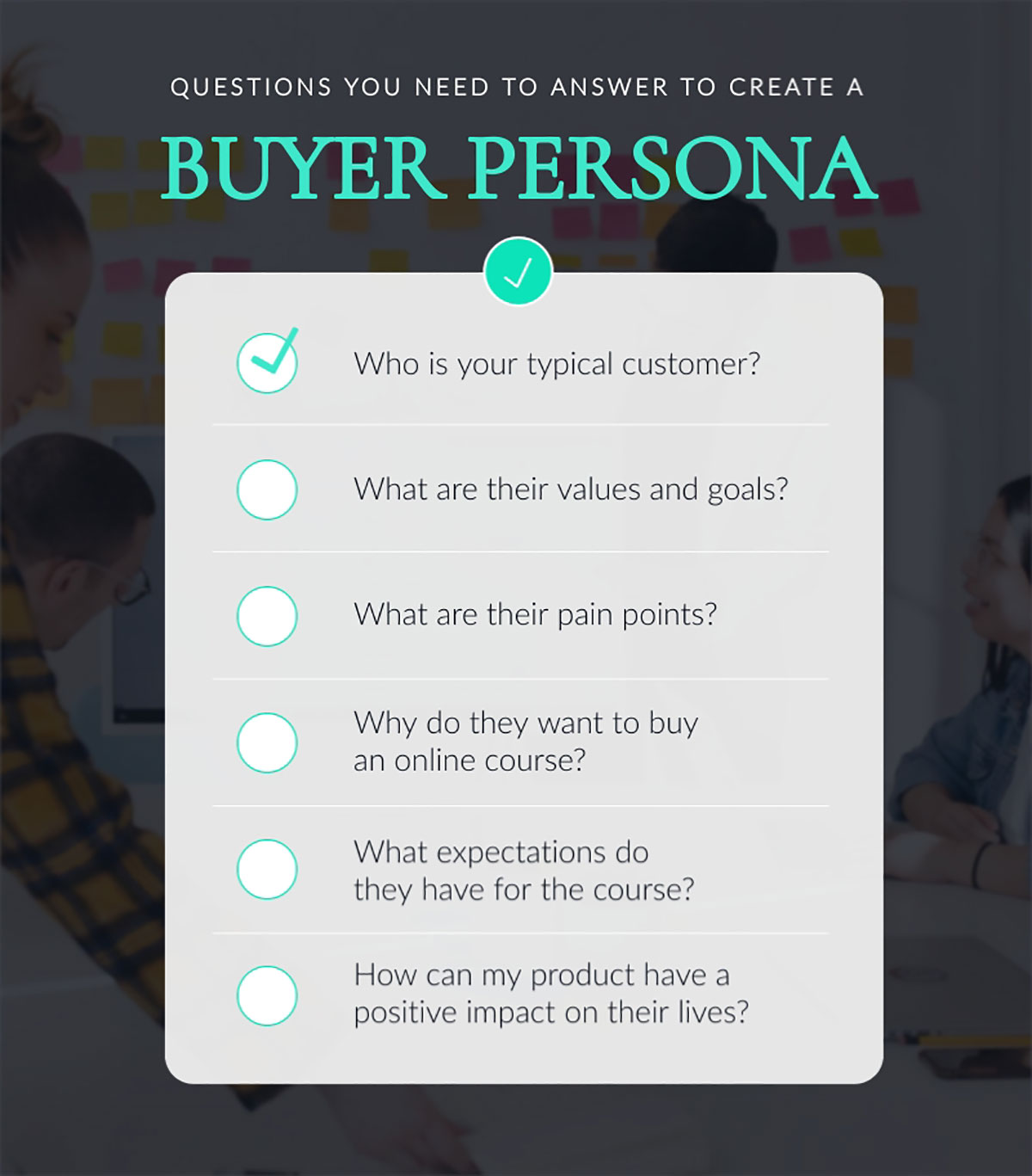 sell online courses - buyer persona checklist