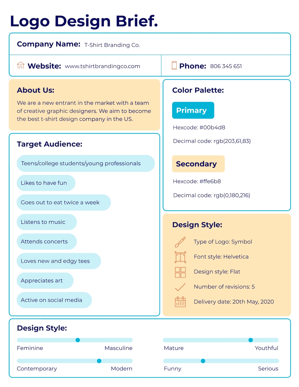 design brief - one-page design brief template