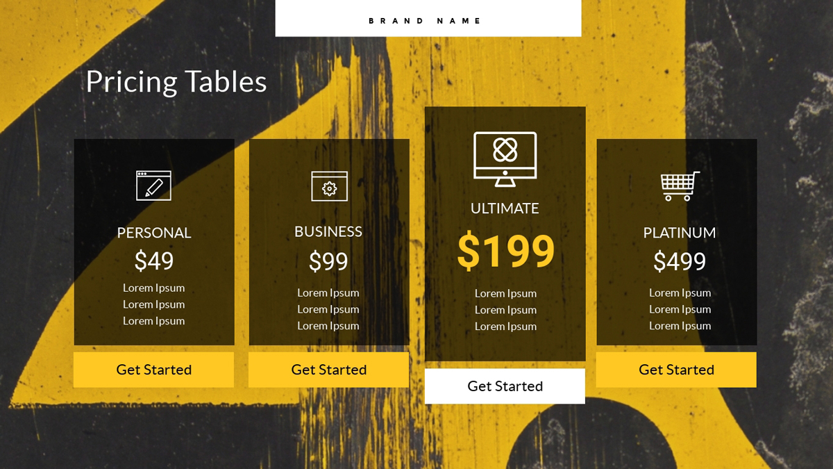 virtual event - pricing table template