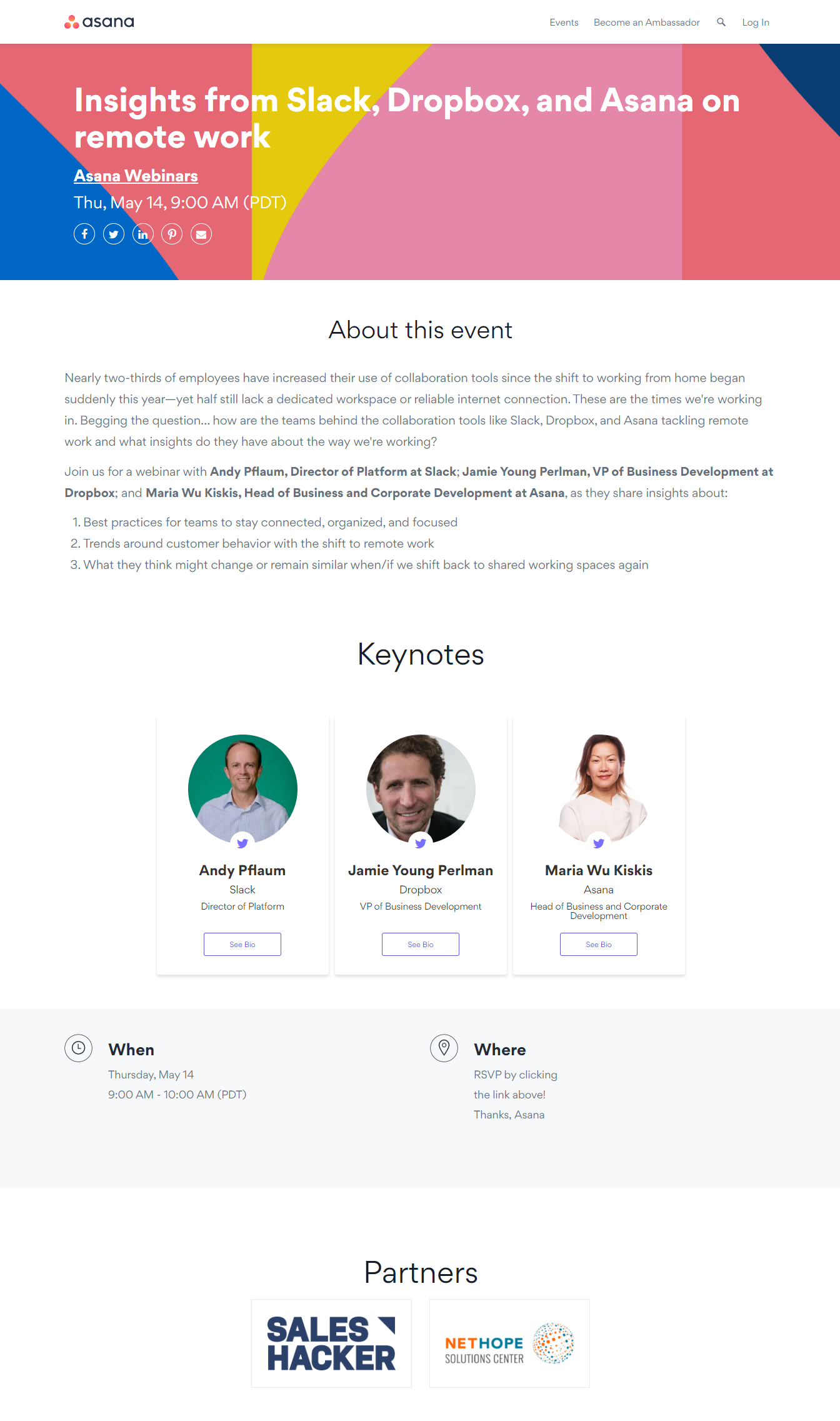 what is a webinar - landing page example asana