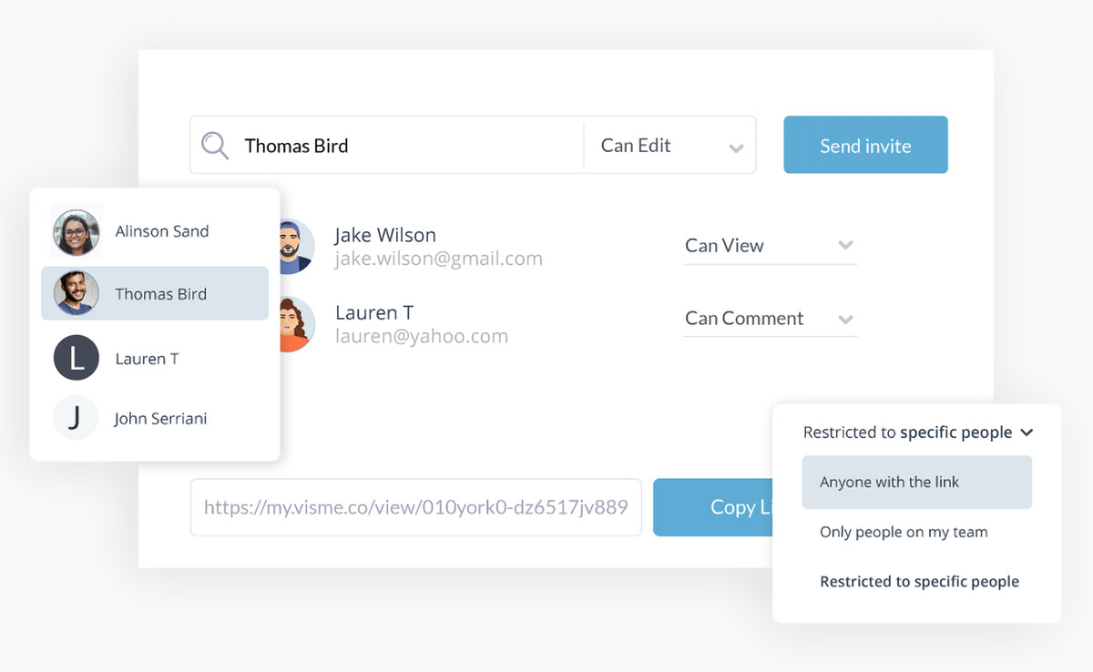 collaborative design - invite users to view, edit and comment on your visme