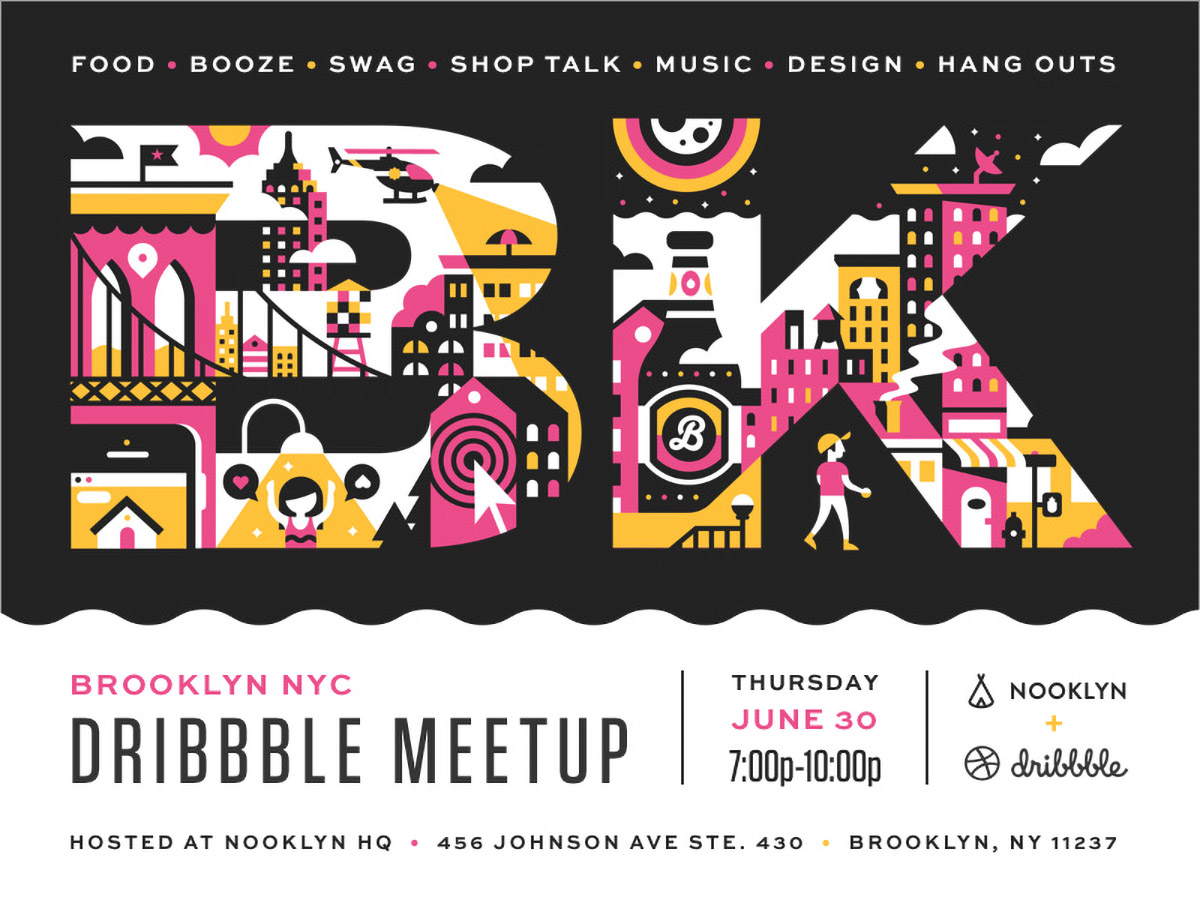 flyer examples - dribble meetup flyer
