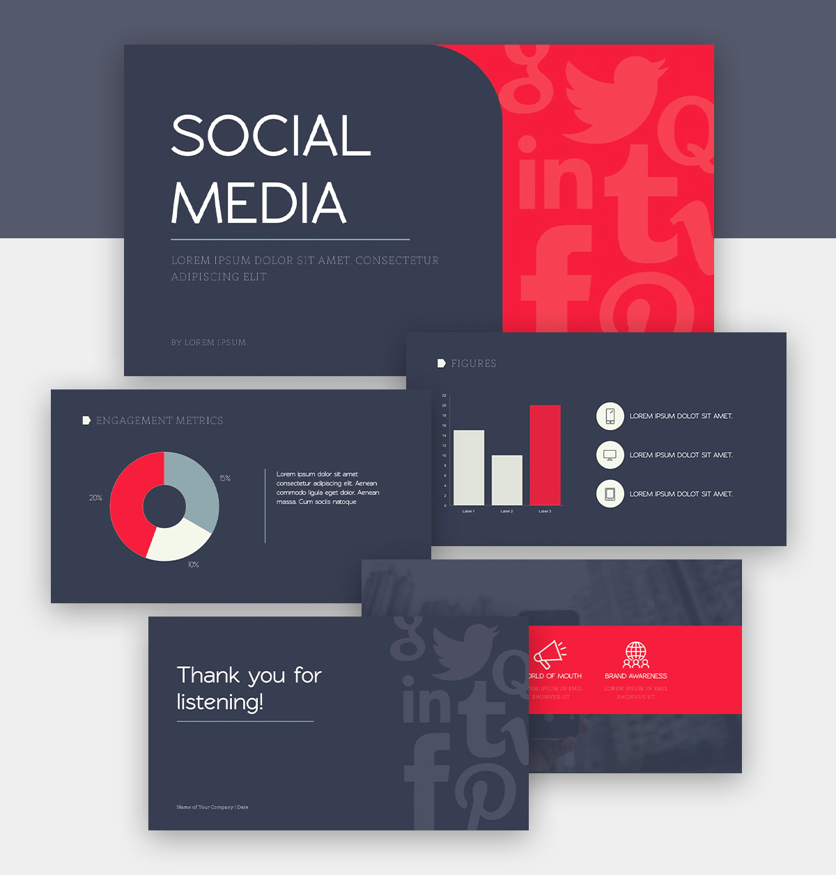 powerpoint infographic - social media presentation template
