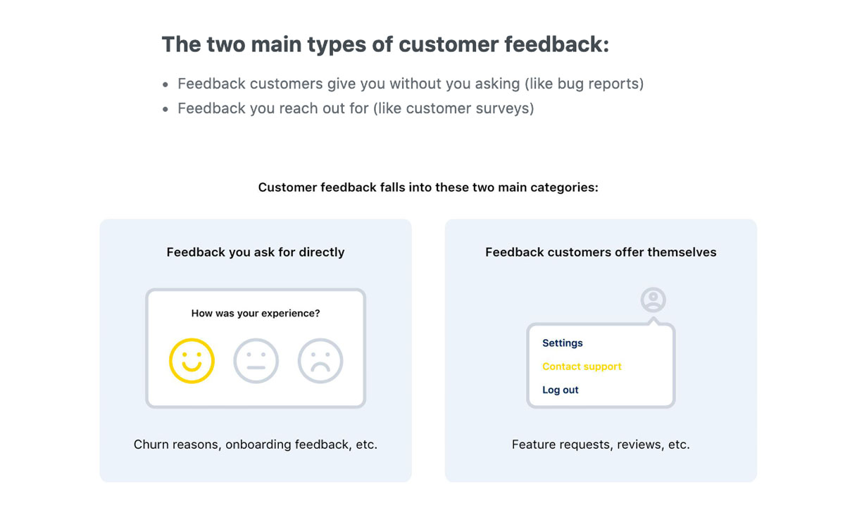 saas content marketing - types of customer feedback