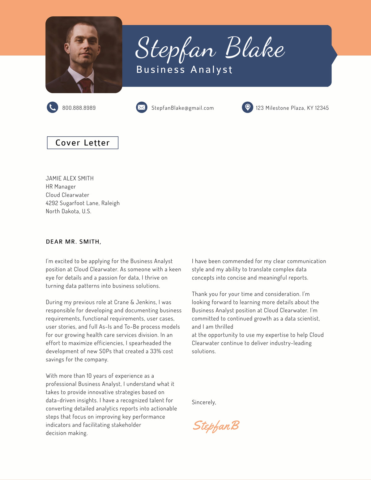 business analyst cover letter template