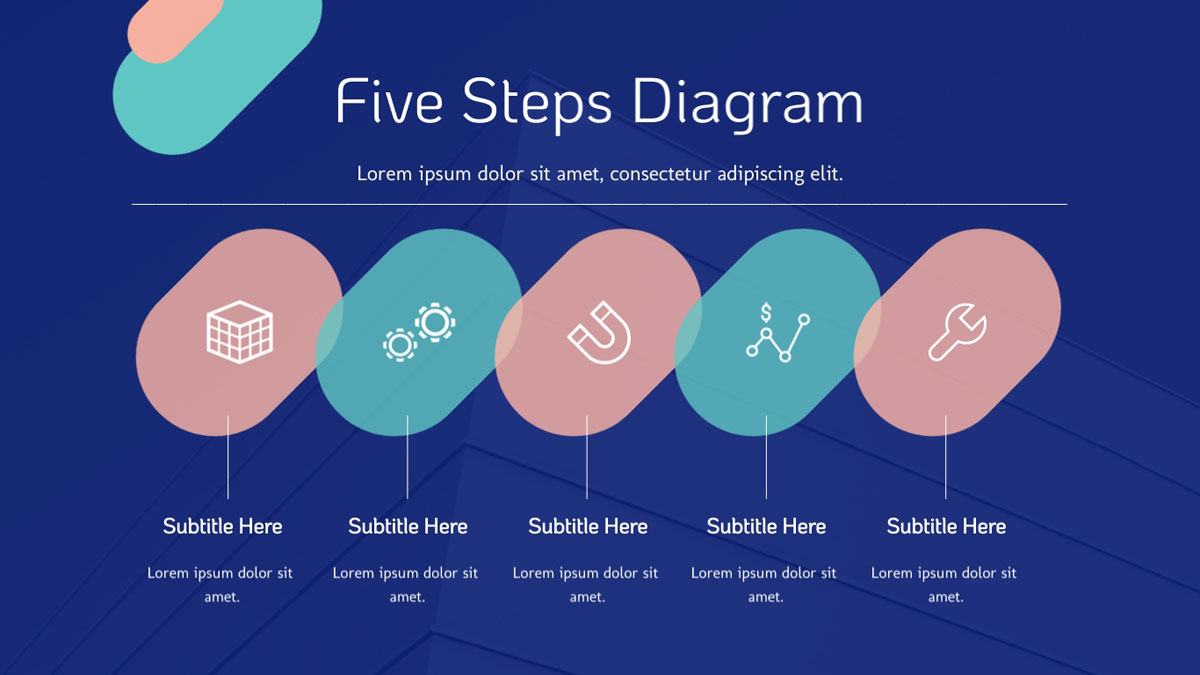 marketing presentation - five steps diagram presentation slide template