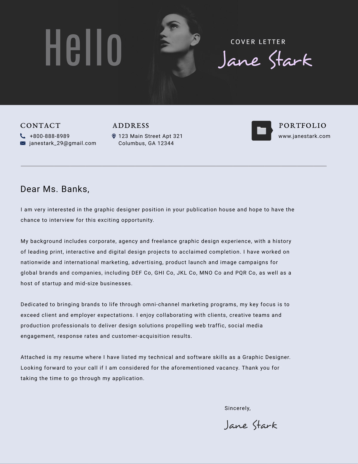 Good Cover Letter Fonts from visme.co