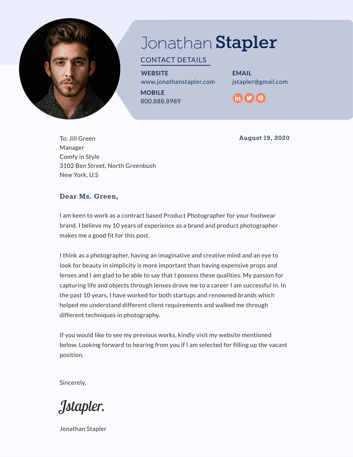 product photographer cover letter template