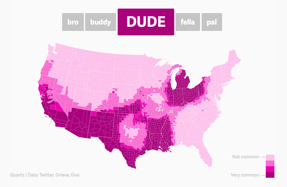 animated interactive infographics - dude map