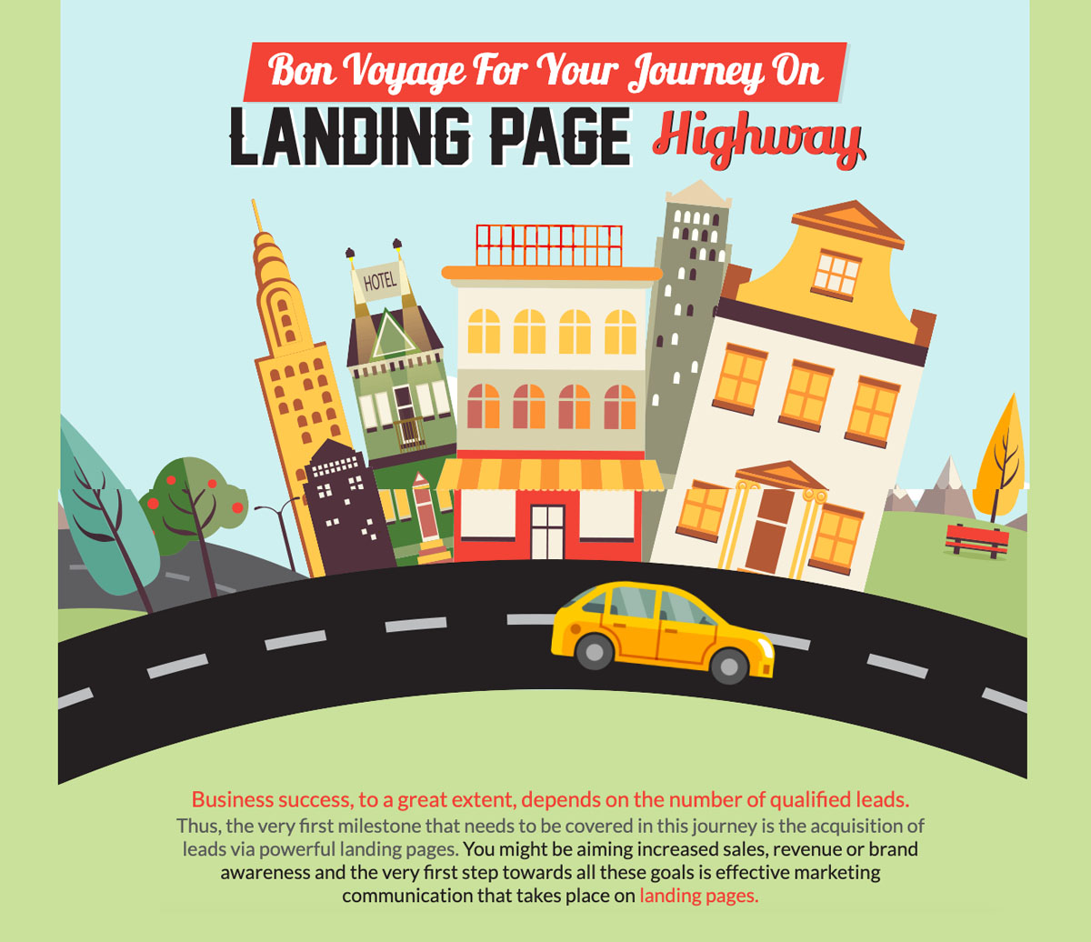 animated interactive infographics - landing page highway