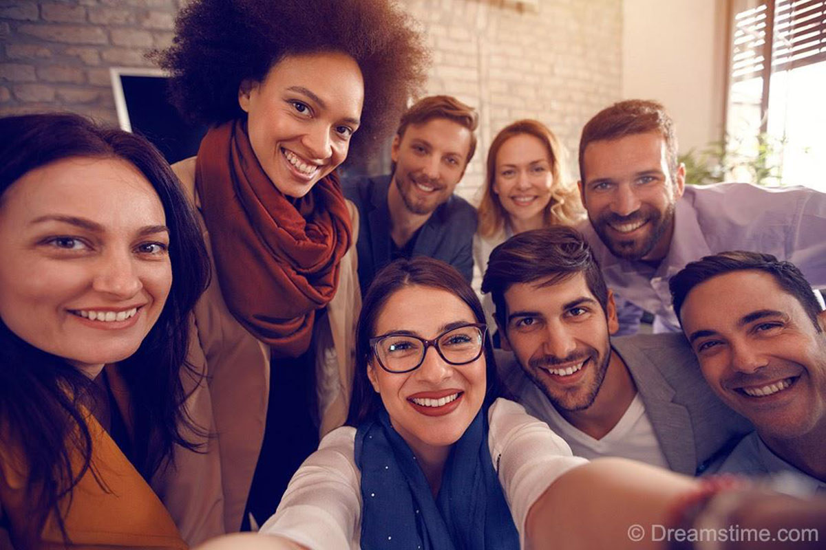 how to use stock photos of people - real group colleagues