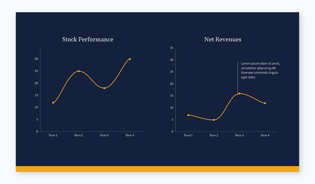 business plan presentation - line graph slide template