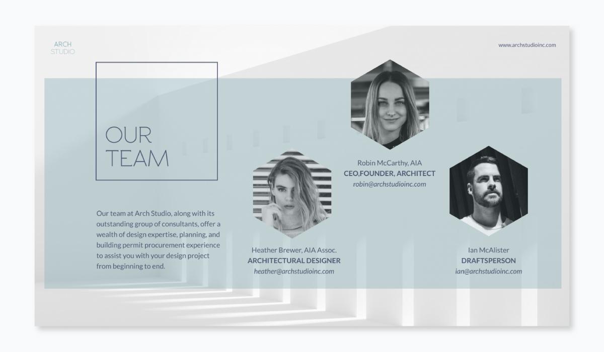 business plan presentation - team slide template