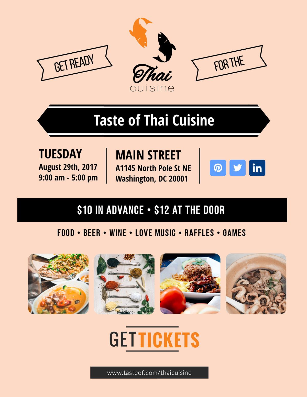 flyer templates - thai cuisine culinary event