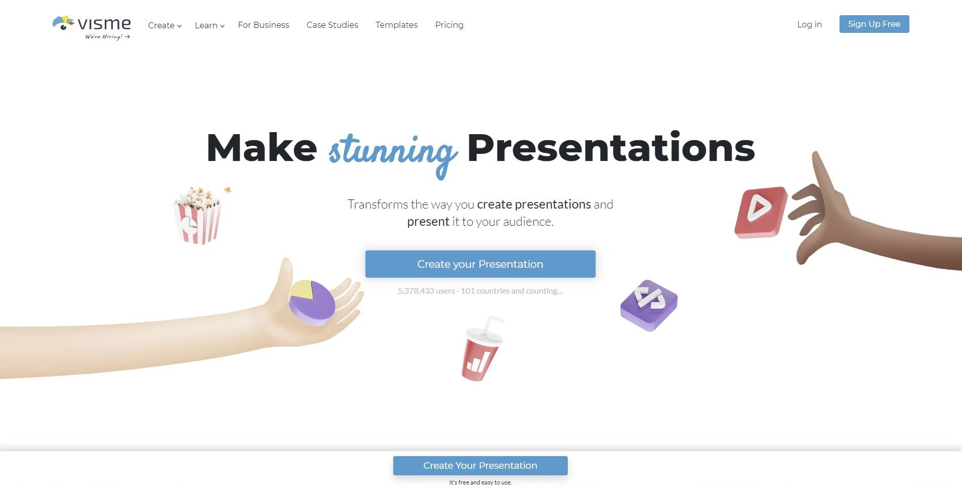 presentation voice over - create new project in Visme