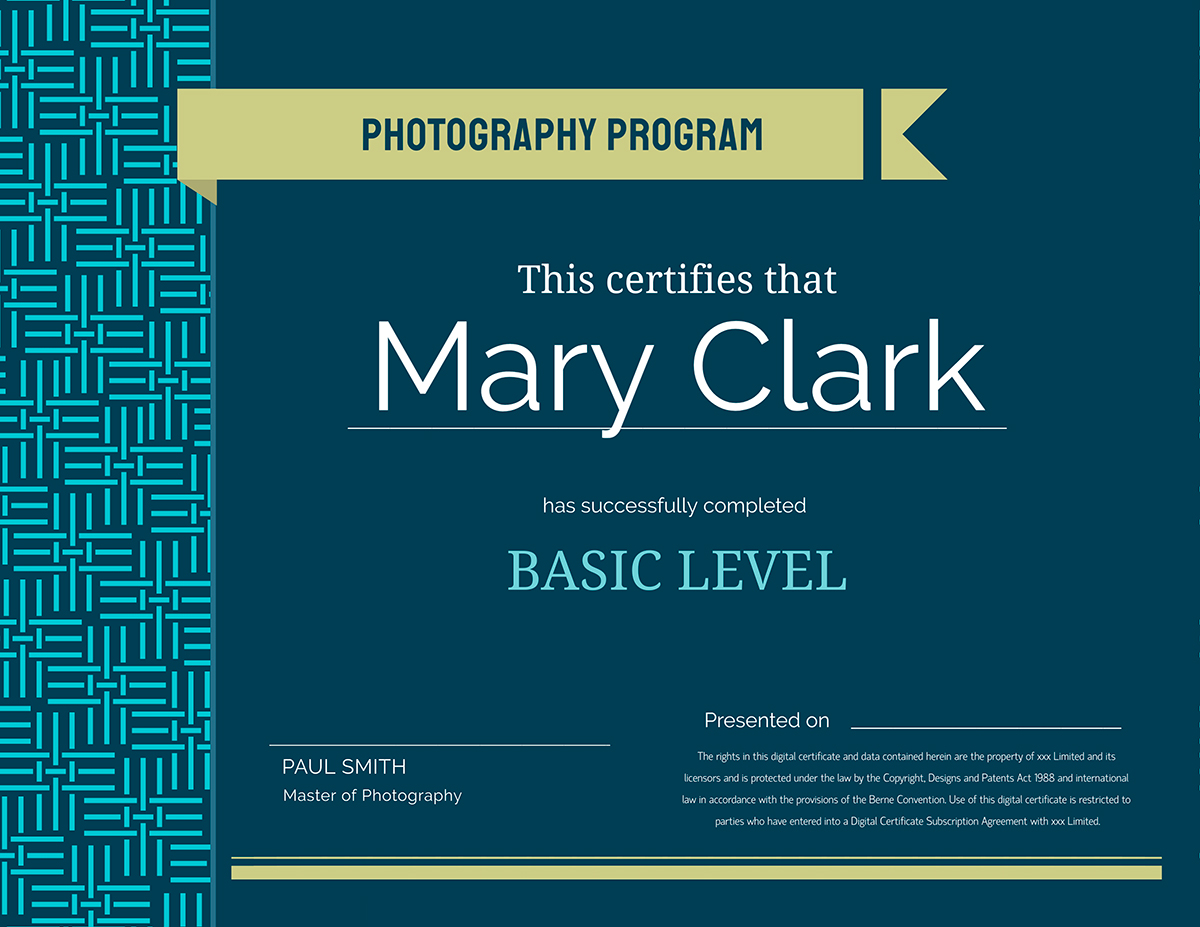 online teaching tools - teachers photography certificate template