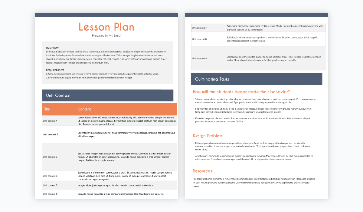 online teaching tools - lesson plan template