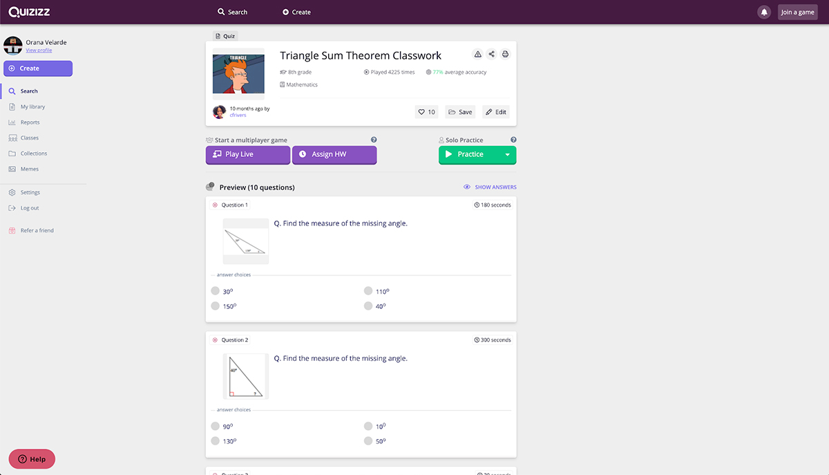 online teaching tools - quizizz screenshot