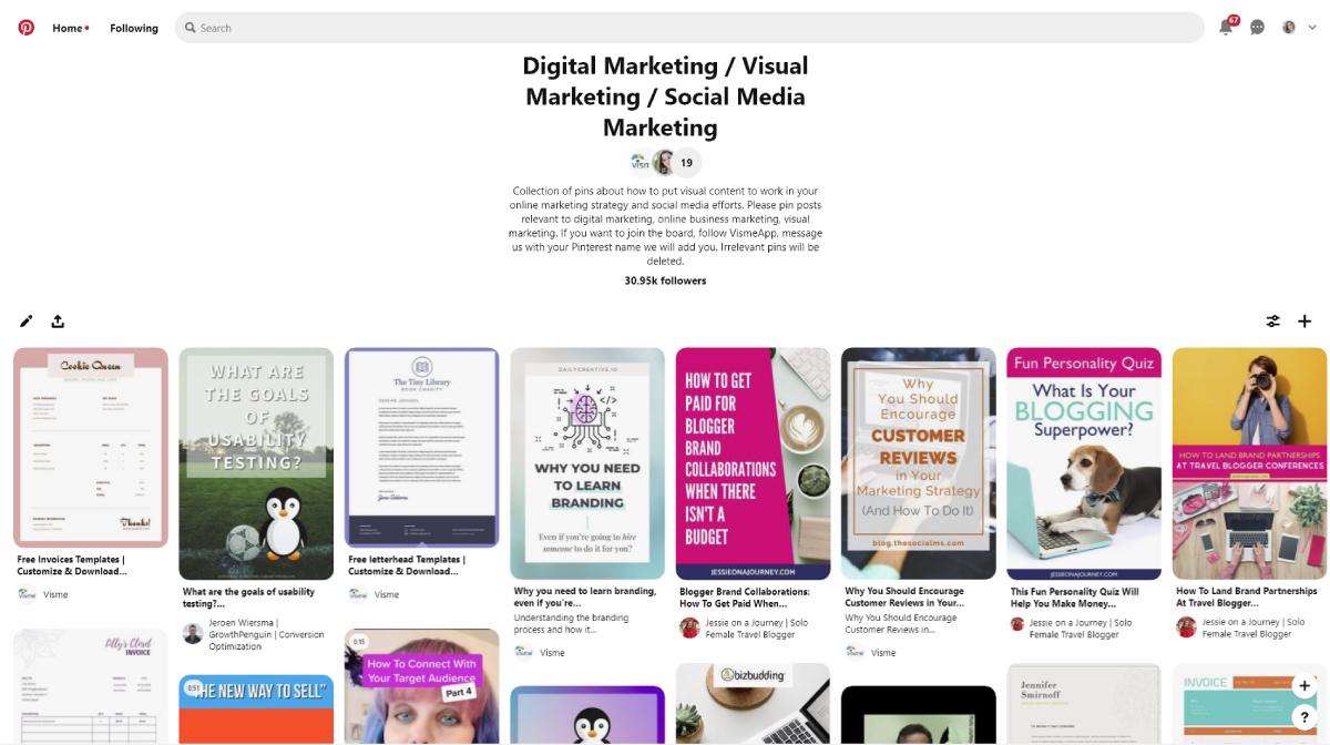 infographic marketing - visme pinterest group board