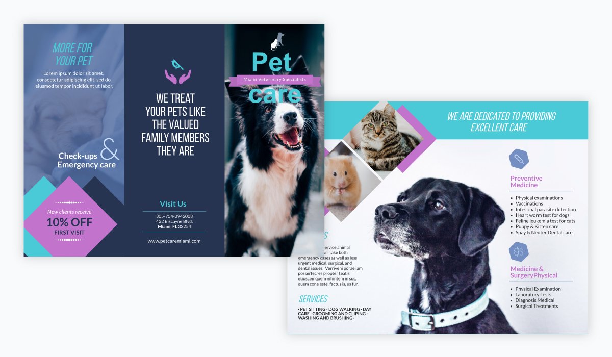 brochure design - pet care brochure template