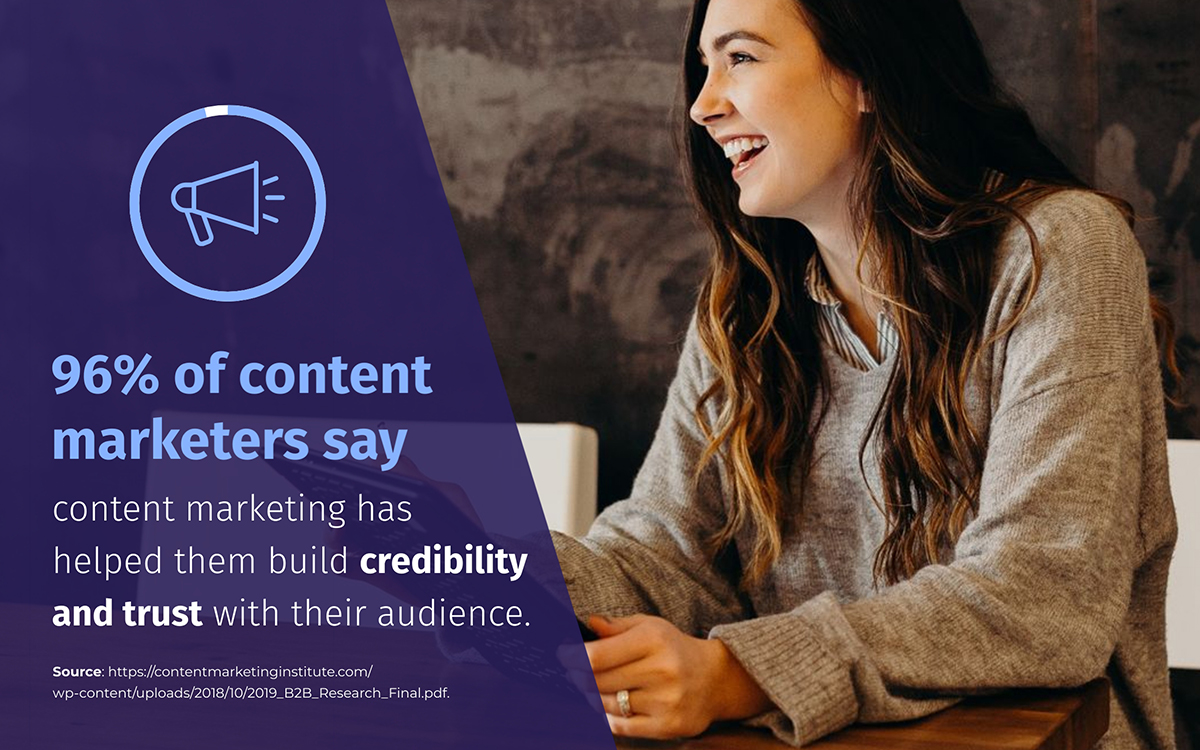 content marketing statistics - 96% of content marketers say content marketing helps build credibility and trust