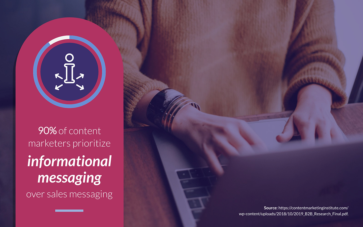 content marketing statistics - 90% of content marketers prioritize informational messaging