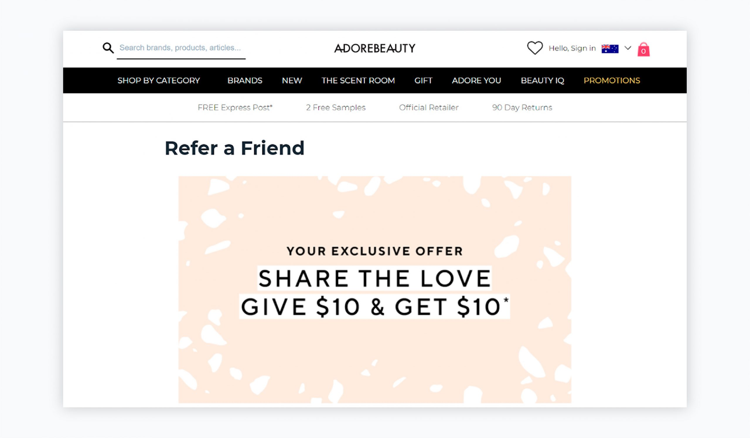 referral marketing - adorebeauty example