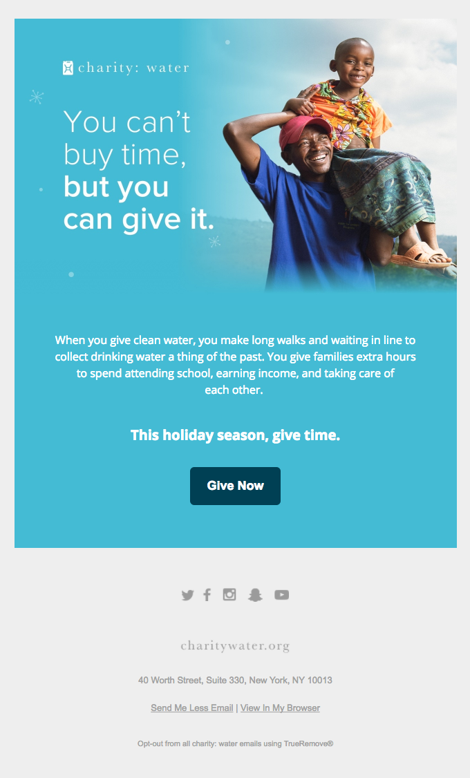 nonprofit marketing - charity water email example