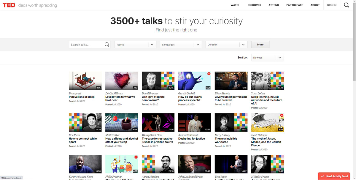 online teaching tools - ted talks screenshot