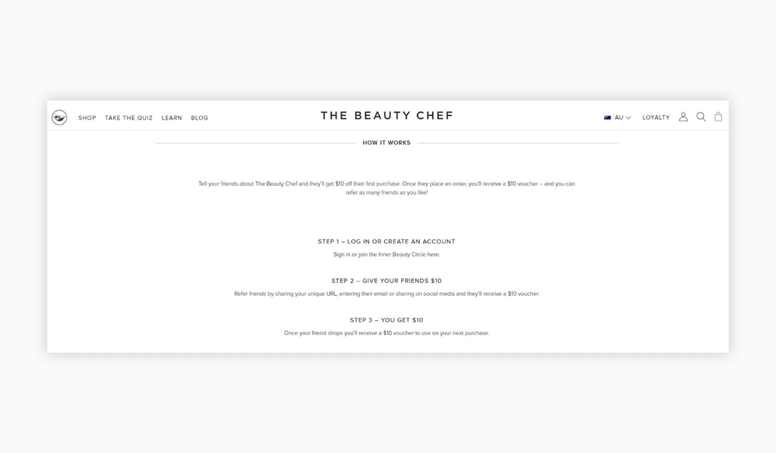 referral marketing - beauty chef example