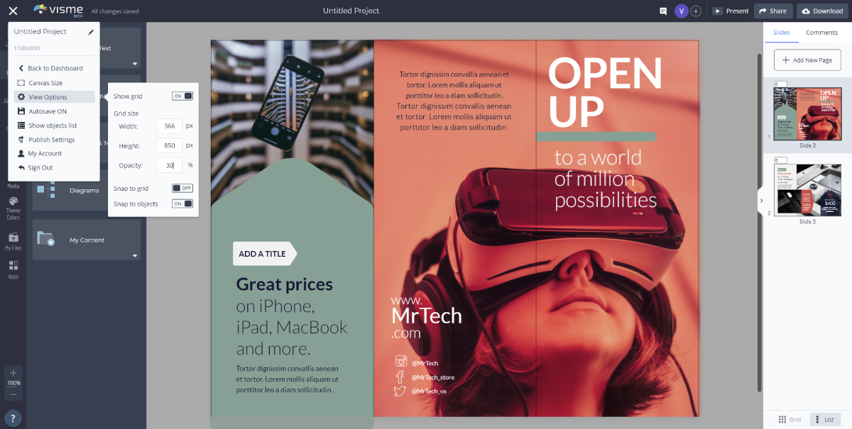 brochure design - use grid view in visme