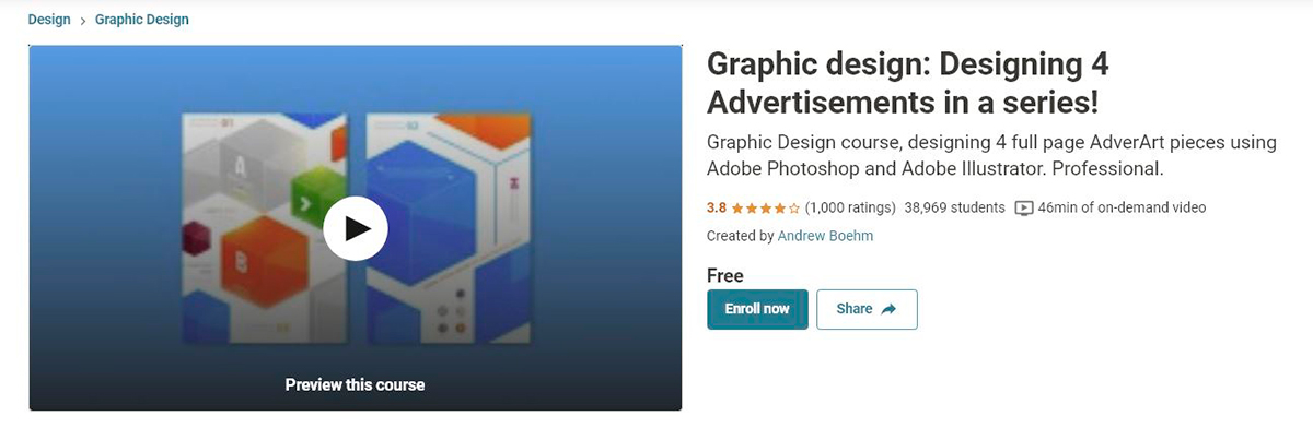 graphic design courses - udemy's advertising design course