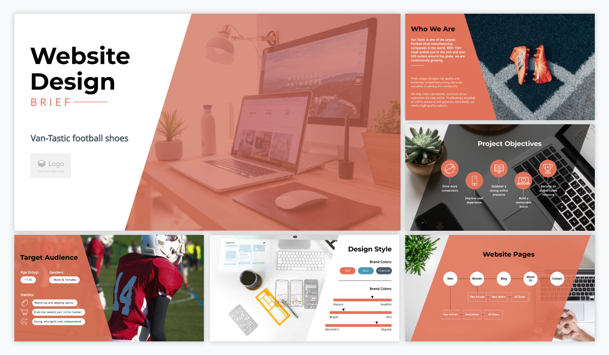 virtual presentation - design brief presentation template