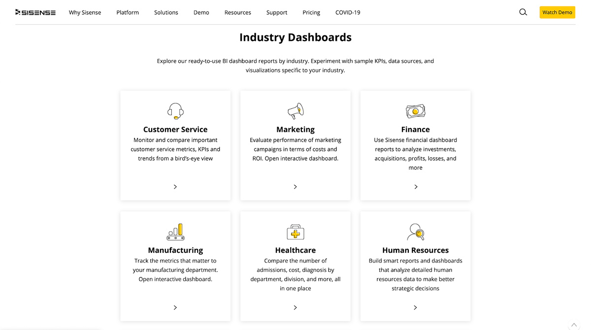data visualization tools - sisense categories