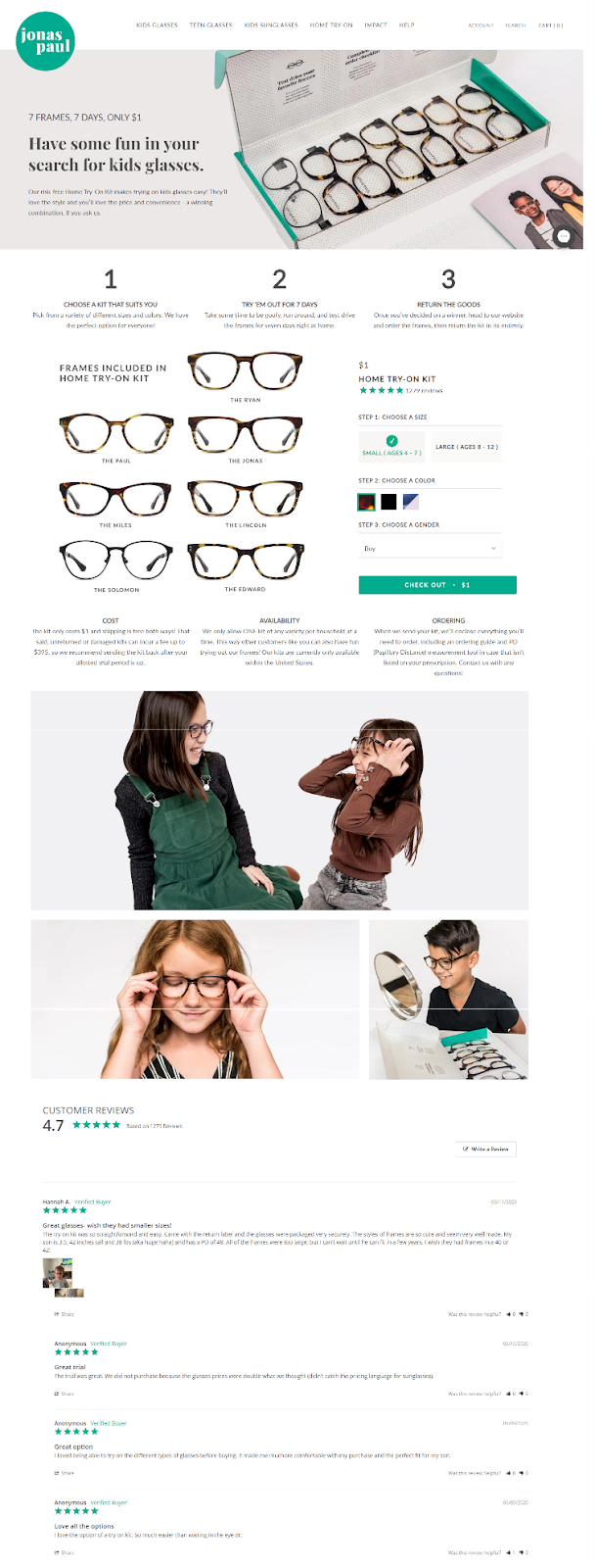 increase website sales - eyeglasses product page