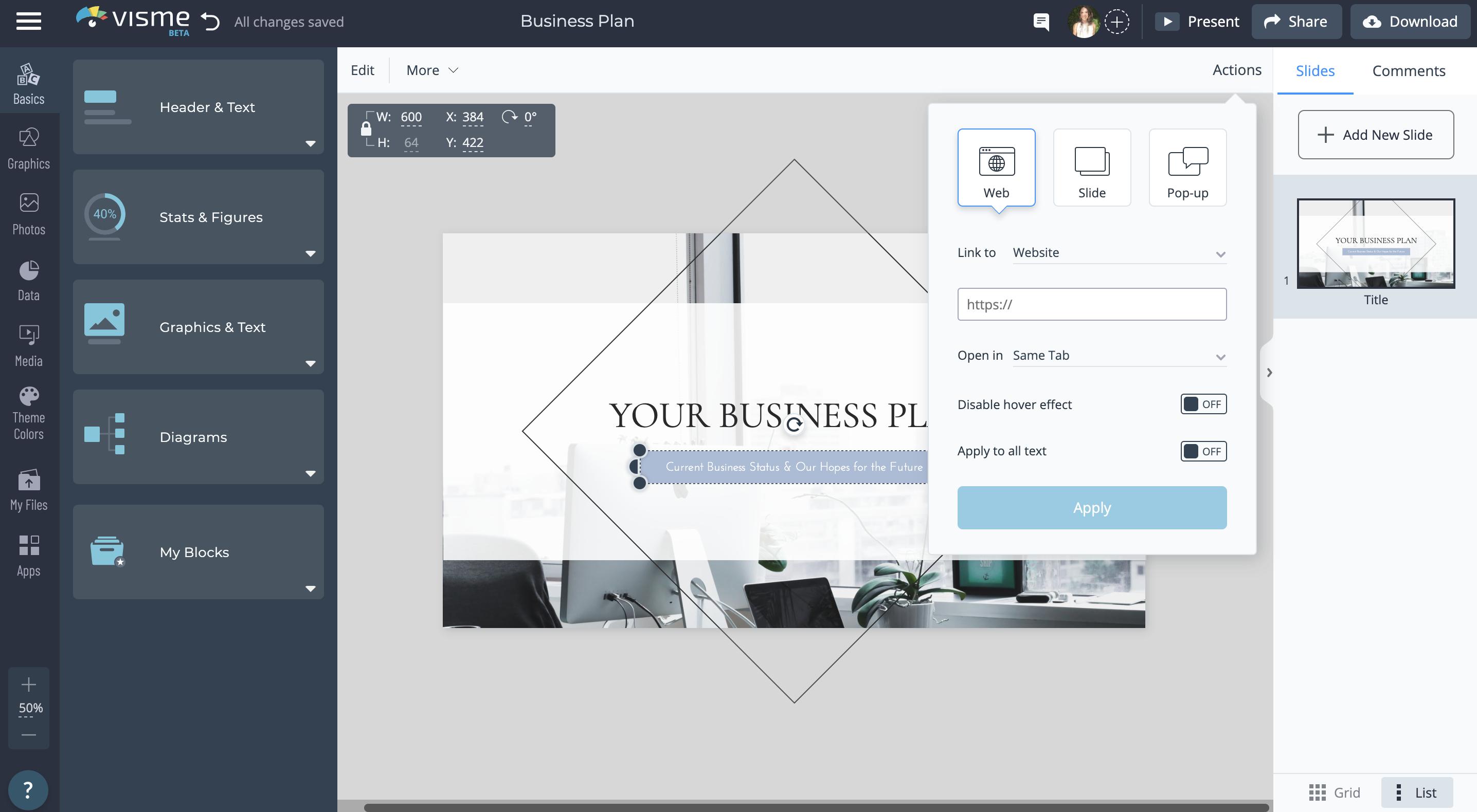 powerpoint presentation - add links in visme's dashboard